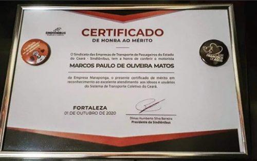 Certificado que Marcos recebeu pelo atendimento a idosos np CE – Foto: arquivo pessoal