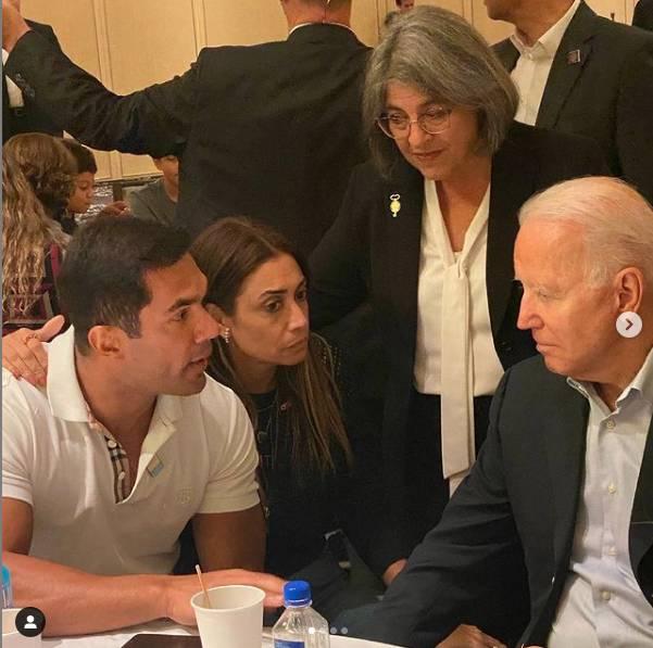 Erick e Fernanda com o presidente Joe Biden - Foto: reprodução / Instagram