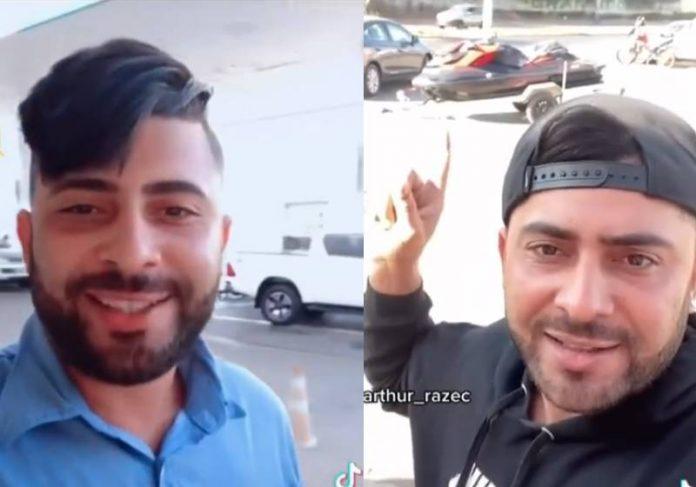 Arthur Razec no vídeo de 2020 do jet ski, e agora, agradecendo ao ex-patrão pela demissão - Fotos: reprodução /
