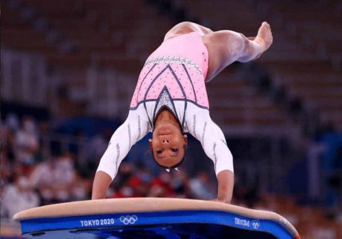 Rebeca salta com precisão e leva a maior pontuação da competição Foto: Tokyo 2020