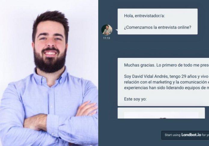O currículo-robô do David abre uma caixa de diálogo com o recrutador e responde perguntas - Foto: reprodução