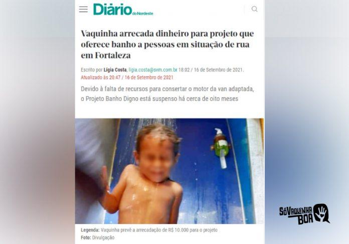 Vaquinha para projeto Banho Digno é destaque no Diário do Nordeste - Foto: reprodução