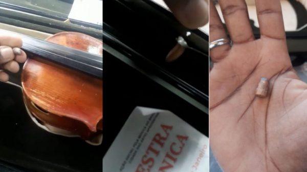 Veja a bala que atingiu violino no dia 20 de agosto — Foto: Arquivo pessoal
