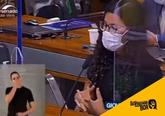 Giovanna se tornou órfã da covid e emocionou a todos com seu depoimento na CPI - Foto: reprodução / TV Senado
