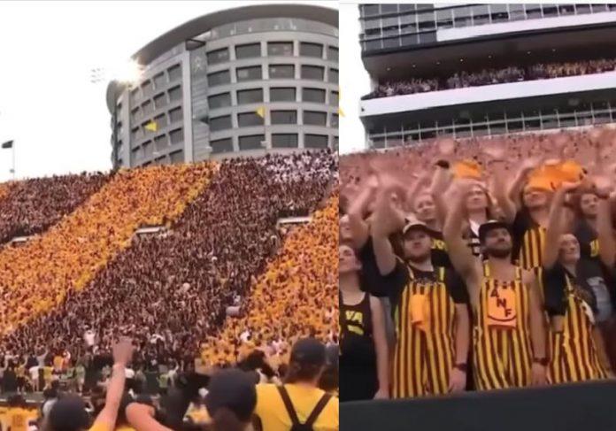 O Estádio inteiro de Iowa acenando para crianças internadas no hospital do câncer - Fotos: reprodução / @sportscentere@espncfb