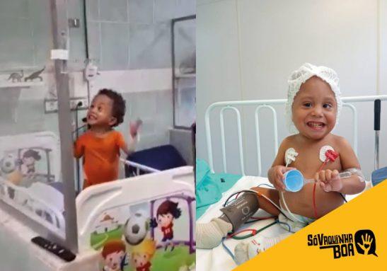 Miguel viralizou ao cantar no hospital, super empolgado, um samba do Péricles. - Fotos: reprodução
