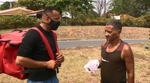 Johny Galdino reencontrou morador que cortou o cabelo — Foto: Reprodução/EPTV