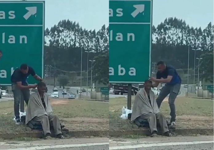 O Motoboy aprendiz de barbeiro viralizou após cortar cabelo de homem em situação de rua — Fotos: @vanilcamacari