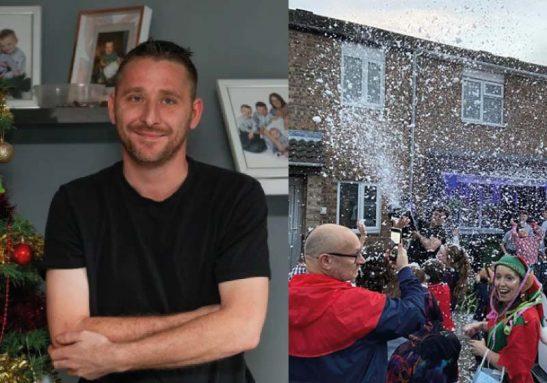 Mat teve diagnóstico de câncer terminal e foi surpreendido por Natal antecipado feito por amigos e vizinhos - Foto: reprodução