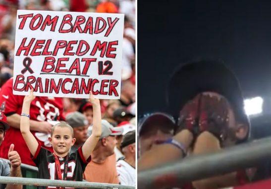Tom Brady me ajudou a vencer um câncer cerebral, disse o menino em um cartaz levado ao estádio - Foto: NFL News