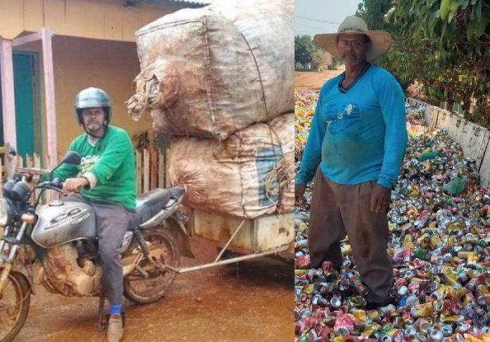 O vigia José Carlos juntando latinhas para doar para o Hospital de Amor Amazônia - Fotos: arquivo pessoal